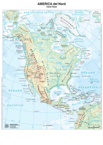 America Nord Carta Formato A3 Plast Fisica Politica Aavv